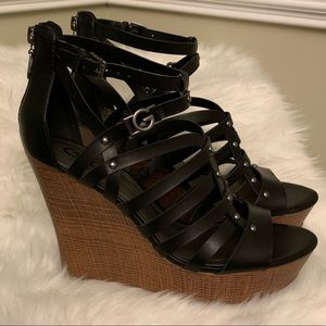New with Box Guess Black Wedge Sandals